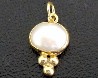 925K Sterling Silver Handmade Ancient Designer Free Form Pearl Pendant