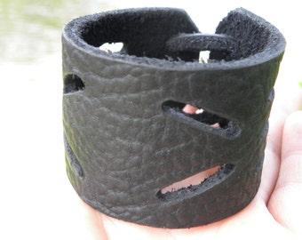 Men Bracelet Genuine American Bison Leather Handmade Indian Style 2 inch wide