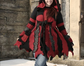 "Custom Fairy Coat of Red and Black ""Wicked"""