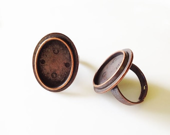 4 Bronze Tone Adjustable Ring Base Blank Findings with 29x22mm Oval Pad Cameo Setting