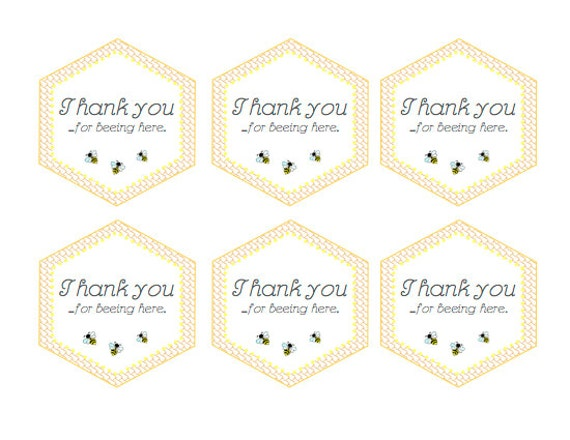 Bee Baby Shower Printable Favor Thank You Stickers  Baby Bee Bumble Bee  Tag,  Label Thank You For Beeing Here Stickers INSTANT DOWNLOAD Pdf