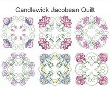 Candlewick Jacobean Quilt Heirloom Machine Embroidery Designs Instant Download 4x4 5x5 6x6 hoop 10 designs APE1839