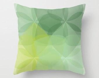 Geometric Flower Pillow Cover -Green Pillow Cover -  Abstract Flower Throw Pillow - Modern Home Decor - By Aldari Home