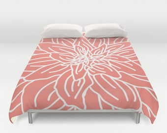 Modern Flower Duvet Cover - Coral - Queen Size Duvet Cover - King Size Duvet Cover