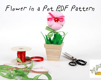 Textile Flower in a Pot PDF Tutorial and ePattern with Instructions, Easy Sewing Tutorial,Textile Pattern,Digital File for Instant Download