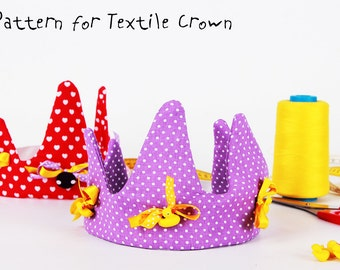 Textile Crown PDF Tutorial and ePattern with Instructions, Easy Sewing Tutorial, Textile Pattern, Digital file for Instant Download