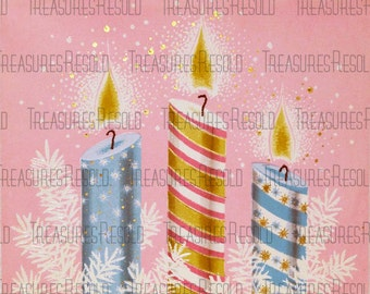 Pastel Candles Christmas Card #86 Digital Download