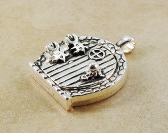 Fairy Door Pendant Magnetic Locket 33mm Antique Silver