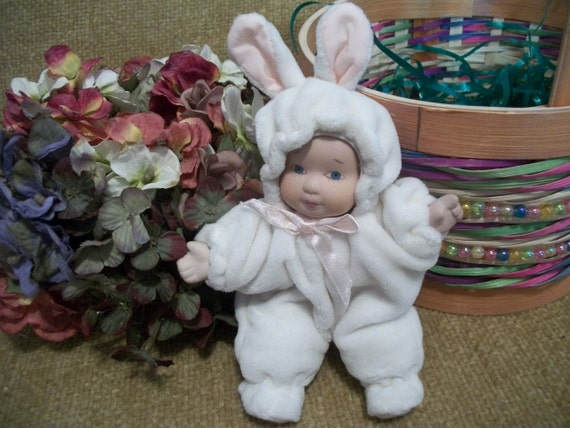 Porcelain Baby Doll White Easter Bunny Feet Pajamas Bunny Suit Snow Suit Easter Basket Stuffer Doll Collector GIft Spring Home Decor