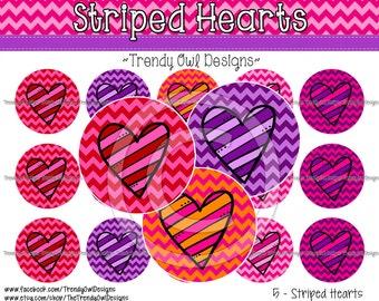 """Striped Hearts Bottle Cap Images - INSTANT DOWNLOAD - 1"""" Bottle Cap Images 4x6 - 05"""