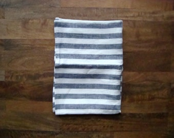 Set of 2 Linen Dish Towels || Navy and White Stripes