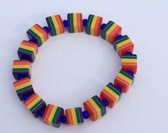 Rainbow cubes on stretchy cord