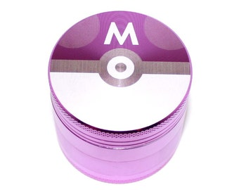 Pokemon Masterball Design Laser Etched Metal Herb Grinder - 4 piece herb grinder w/ FREE Carrying Pouch