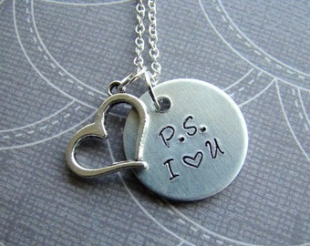 Handstamped P.S. I Love You Necklace, Charm Necklace, Love Jewelry, Gift For Her