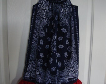 BD 008 Girls Navy Blue Bandanna dress with Red ruffle and tie