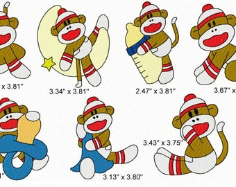 21 Baby Boy Sock Monkey Machine Embroidery Design Files 4x4 Set #1