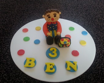 Edible Mr Tumble and his spotty bag birthday cake topper