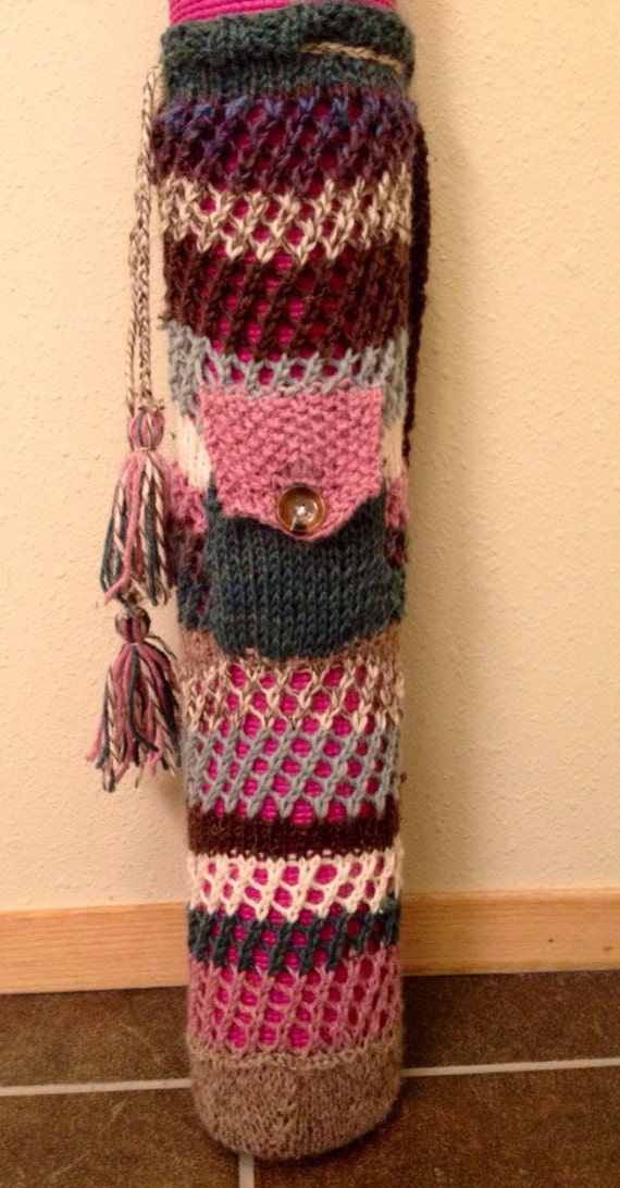 Items similar to Knitted Yoga Mat Bag with pocket on Etsy