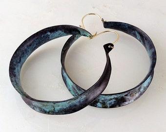 Verdigris Hoop Earrings - Large Turquoise Green Hoop Earrings - Large Hoop Earrings  - Large Anticlastic Copper Hoop Earrings