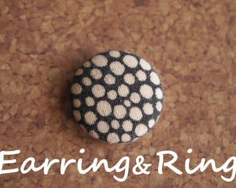 Black and cream polka dot fabric covered button earrings, fabric covered button clip on earrings, fabric covered button ring