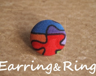 Multicolor puzzle piece fabric covered button earrings, fabric covered button clip on earrings, fabric covered button ring