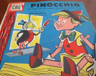 Vintage Pinocchio Record/78's/Schumann Paris/Eugene Lowell Singers/Litho USA