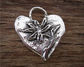 Artisan Handmade Sterling Silver Flower and Heart Charm and Pendant (C) (A)