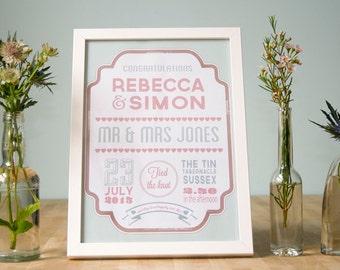 Playbill Personalised Wedding Day Print