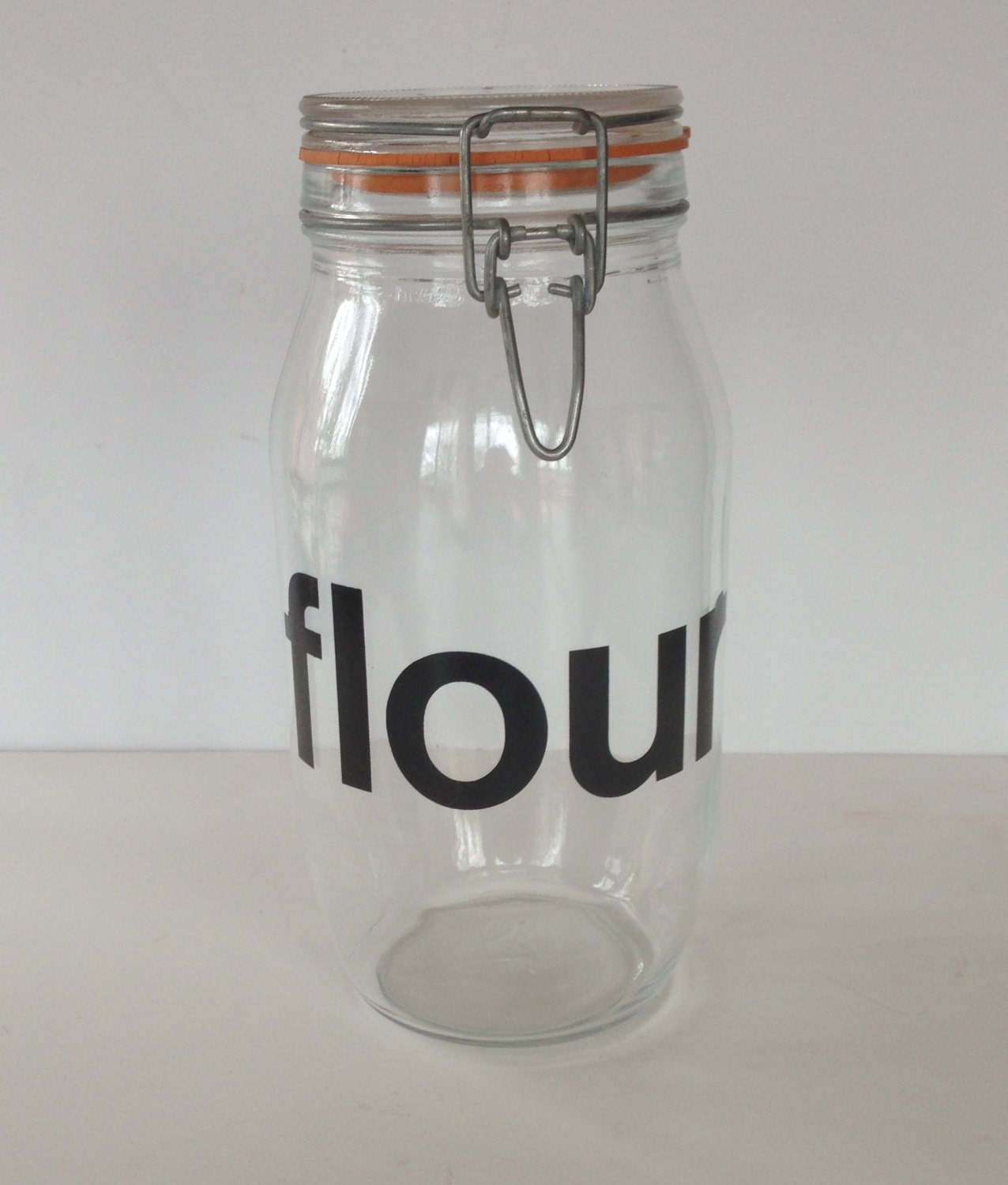 vintage retro flour glass canister with helvetica font