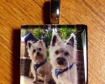 Custom Glass tile photo pendant (style #8)