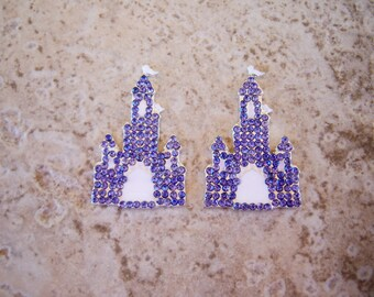 2 pieces:  Ice Blue and White Rhinestone & Metal Princess Castle Flatback - Cabochon