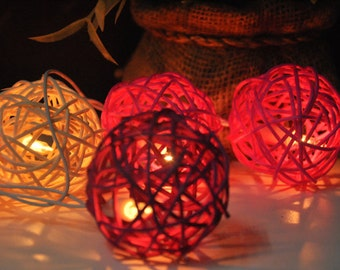 20 Romantic love Rattan Ball String Lights for Party Wedding and Decorations