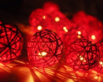 20 Red Rattan Ball String Lights for Party Wedding and Decorations