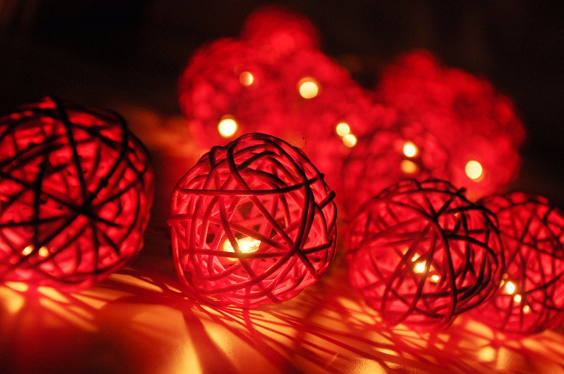 Red Rattan String Lights : 20 Red Rattan Ball String Lights for Party Wedding by smilecotton