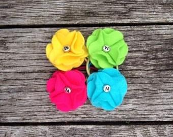 Felt flower hair bobble, classic felt flower, floral hair accessory, gift for girls, set of 4 bright colours, FREE P&P (within UK)