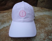 Women's Golf Hat White & Pink with Woven Label Tee Design | Great Golf Gift Idea!