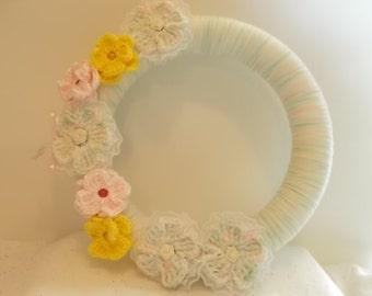 Wreath, Yarn Wreath, Crochet flowers, Wall hanging, wall decor, nursery, bedroom