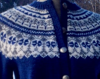 Fair Isle Vtg Handknit Norwegian Cardigan Sweater O. Allers AS made in Norway-size S