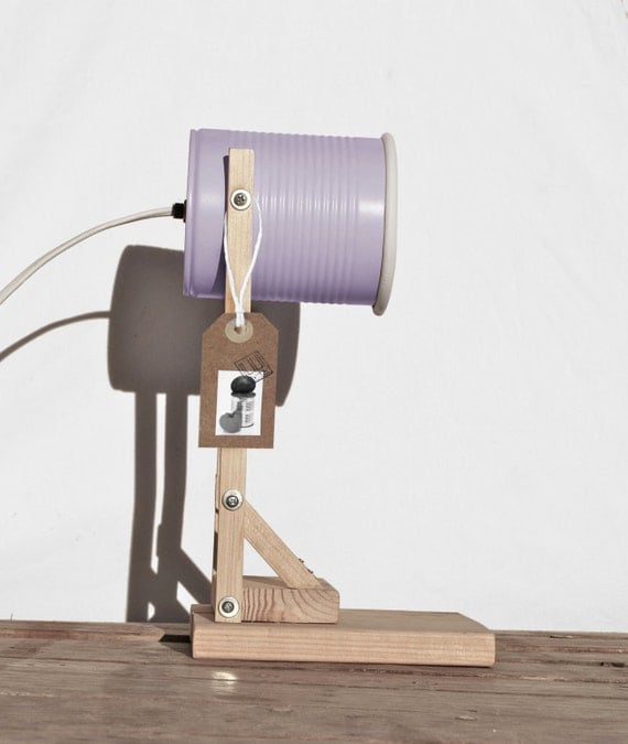 Desk lamp / table lamp nightstand lamp, pastel maulve /violet  color.. eco friendly: recycled from tomato can! EURO,UK, US or Australia plug