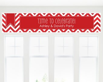 Red Chevron Banner - Custom Red Party Decorations