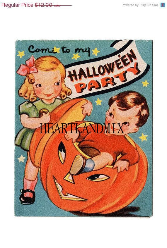 Halloween party invitation vintage digital by for Vintage halloween party invitations