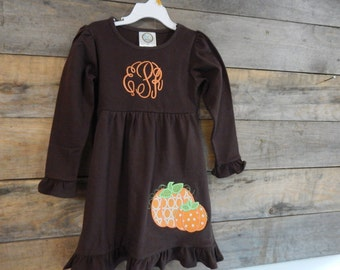 Girls Fall Dress Monogrammed; Girls Fall Dress; Fall Dress Monogrammed; Girls Pumpkin Dress; Girl's Brown Dress; Girl's Dress; Fall Dress