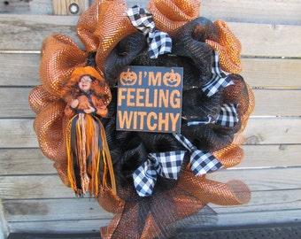 "24""  Witch Wreath- Halloween Wreath- Feeling Witchy Wreath- Witch Decor- Halloween Deco Mesh Wreath- Witch Deco Mesh Wreath- Black/Orange"