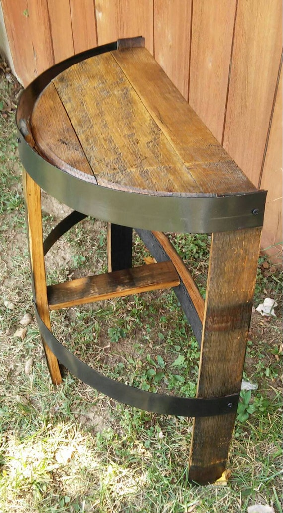 Whiskey barrel stave side table with bands