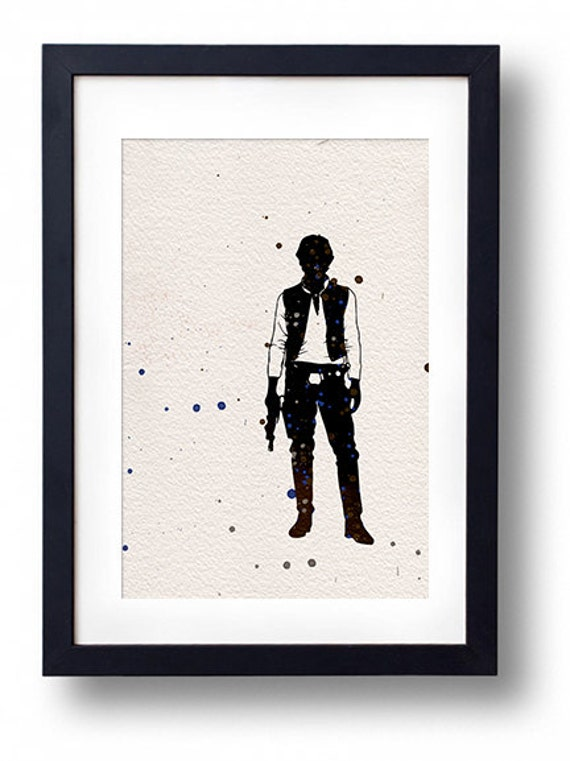 Star wars han solo watercolor illustrations art sci fi poster for Sci fi home decor