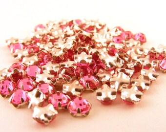 Vintage Swarovski Rose Montees Sew On Rhinestones Pink 3mm Channel Back Lot of 63