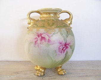Nippon Moriage Vase Urn Maple Leaf Antique Hand Painted Orchids Gold Claw Feet 1800s
