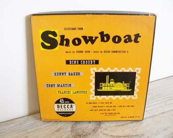 Showboat Bing Crosby Tony Martin Antique Record 1949 Decca 45 Boxed 4 Record Set
