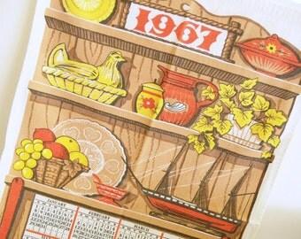 Vintage 1967 Calendar Towel Linen Tea Towel Kitchen Hutch Pottery Advertising
