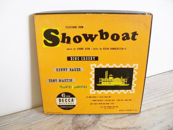 Showboat Bing Crosby Tony Martin Antique Record 1949 Decca 45 Boxed 4 Record Set